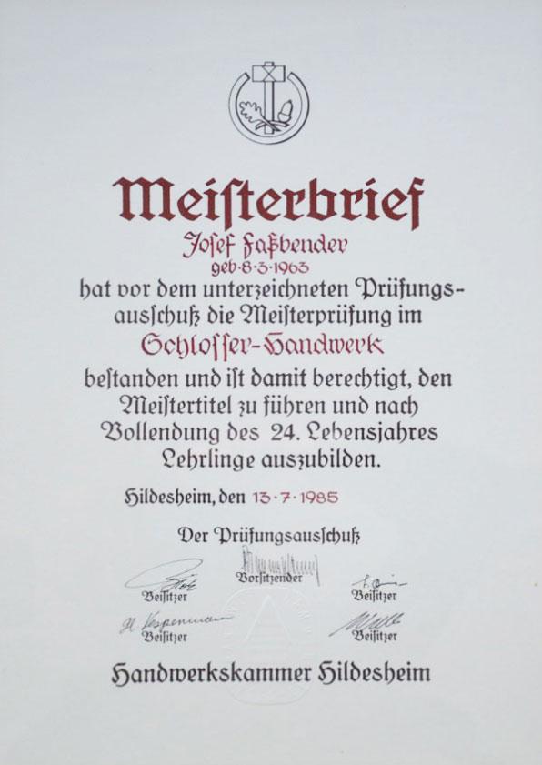 Meisterbrief Metallbaumeister • SV-Fassbender