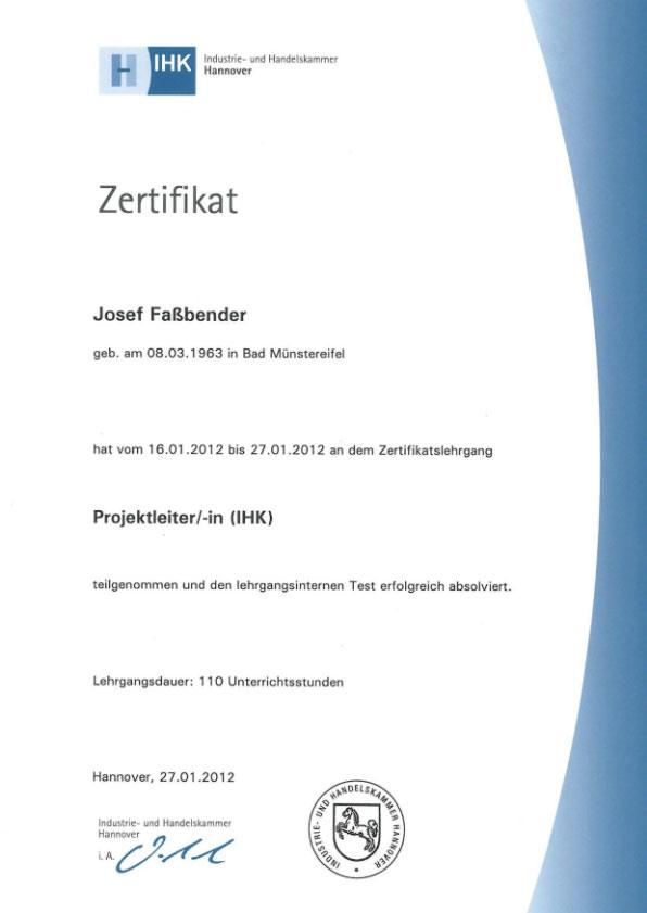 Zertifikat der IHK • SV-Fassbender